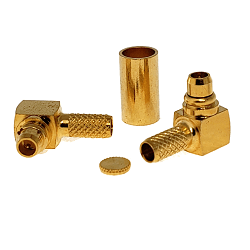 RMX-9010-1B RF Industries MMCX, MALE Right Angle CRIMP Plug, Gold,Gold,T; FOR RG-174/U & RG316/U, LM