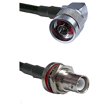 N Right Angle Male Connector On LMR-240UF UltraFlex To SHV Bulkhead Jack Connector Coaxial Cable Ass