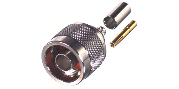 RP-1005-C RF Industries N MALE CRIMP Plug, REVERSE POLARITY (GENDER), Nickel,Gold,T; FOR RG-58/U, CB