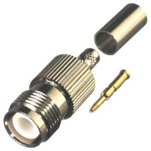 RP-1216-C1 RF Industries TNC FEM CRIMP STRAIGHT JACK, REVERSE POLARITY (GENDER), Nickel,Gold,T; FOR