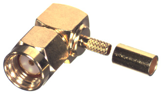 RP-3010-1B1 RF Industries SMA MALE Right Angle CRIMP Plug, REVERSE POLARITY (GENDER), Gold,Gold,T; F