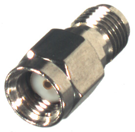 RP-3405 RF Industries ADAPTER, REVERSE POLARITY SMA MALE TO SMA FEMALE; Nickel,Gold,T