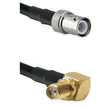 BNC Reverse Polarity Female on LMR-195-UF UltraFlex to SMA Right Angle Female Bulkhead Coaxial Cable