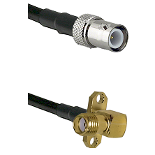 BNC Reverse Polarity Female on LMR240 Ultra Flex to SMA 2 Hole Right Angle Female Coaxial Cable Asse