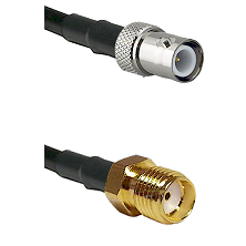 BNC Reverse Polarity Female Connector On LMR-240UF UltraFlex To SMA Reverse Thread Female Connector