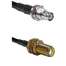 BNC Reverse Polarity Female Bulkhead on LMR-195-UF UltraFlex to SMA Female Bulkhead Coaxial Cable As
