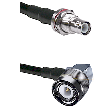 BNC Reverse Polarity Female Bulkhead on LMR200 UltraFlex to C Right Angle Male Coaxial Cable Assembl