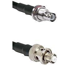 BNC Reverse Polarity Female Bulkhead on LMR200 UltraFlex to SHV Plug Cable Assembly