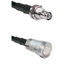 BNC Reverse Polarity Female Bulkhead Connector On LMR-240UF UltraFlex To 7/16 Din Female Connector C