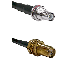 BNC Reverse Polarity Female Bulkhead Connector On LMR-240UF UltraFlex To SMA Reverse Polarity Female