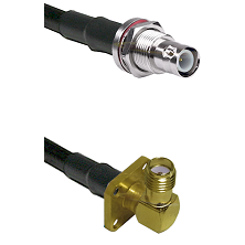 BNC Reverse Polarity Female Bulkhead Connector On LMR-240UF UltraFlex To SMA 4 Hole Right Angle Fema