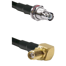 BNC Reverse Polarity Female Bulkhead Connector On LMR-240UF UltraFlex To SMA Right Angle Female Bulk
