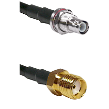 BNC Reverse Polarity Female Bulkhead Connector On LMR-240UF UltraFlex To SMA Reverse Thread Female C