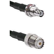 BNC Reverse Polarity Female Bulkhead on RG142 to Mini-UHF Female Cable Assembly