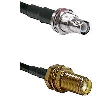 BNC Reverse Polarity Female Bulkhead on RG400 to SMA Female Bulkhead Cable Assembly