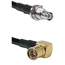 BNC Reverse Polarity Female Bulkhead on RG58C/U to SMB Right Angle Female Cable Assembly