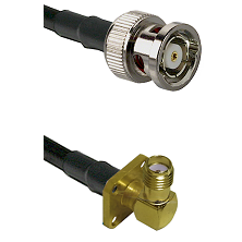 BNC Reverse Polarity Male on Belden 83242 RG142 to SMA 4 Hole Right Angle Female Coaxial Cable Assem