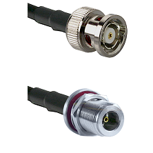 BNC Reverse Polarity Male on LMR100 to N Female Bulkhead Cable Assembly
