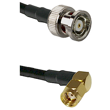 BNC Reverse Polarity Male on LMR-195-UF UltraFlex to SMA Reverse Polarity Right Angle Male Coaxial C