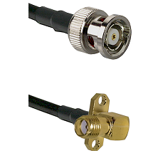 BNC Reverse Polarity Male on LMR240 Ultra Flex to SMA 2 Hole Right Angle Female Coaxial Cable Assemb