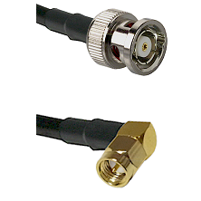 BNC Reverse Polarity Male on LMR240 Ultra Flex to SMA Right Angle Male Cable Assembly