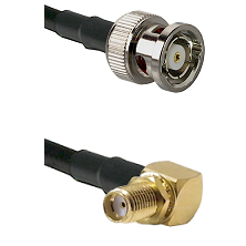 BNC Reverse Polarity Male Connector On LMR-240UF UltraFlex To SMA Reverse Thread Right Angle Female