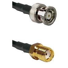 BNC Reverse Polarity Male on RG400 to SMA Reverse Thread Female Cable Assembly