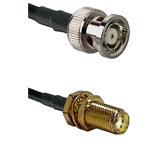 BNC Reverse Polarity Male on RG400 to SMA Female Bulkhead Cable Assembly