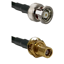 BNC Reverse Polarity Male on RG400 to SMB Female Bulkhead Cable Assembly