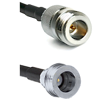 N Reverse Polarity Female on LMR100 to QN Male Cable Assembly