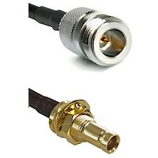 N Reverse Polarity Female on LMR200 UltraFlex to 10/23 Female Bulkhead Cable Assembly