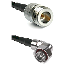 N Reverse Polarity Female on LMR240 Ultra Flex to 7/16 Din Right Angle Male Cable Assembly