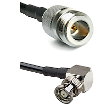 N Reverse Polarity Female on LMR240 Ultra Flex to BNC Reverse Polarity Right Angle Male Coaxial Cabl