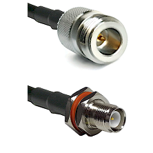 N Reverse Polarity Female on LMR240 Ultra Flex to TNC Reverse Polarity Female Bulkhead Coaxial Cable