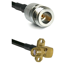 N Reverse Polarity Female on LMR240 Ultra Flex to SMA 2 Hole Right Angle Female Coaxial Cable Assemb