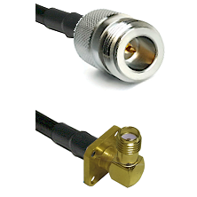 N Reverse Polarity Female on LMR240 Ultra Flex to SMA 4 Hole Right Angle Female Coaxial Cable Assemb