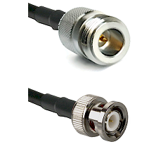 N Reverse Polarity Female on RG142 to BNC Male Cable Assembly
