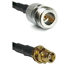 N Reverse Polarity Female on RG142 to MCX Female Bulkhead Cable Assembly