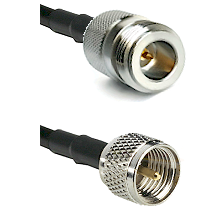 N Reverse Polarity Female on RG142 to Mini-UHF Male Cable Assembly