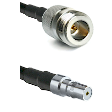 N Reverse Polarity Female on RG58C/U to QMA Female Cable Assembly