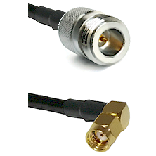N Reverse Polarity Female on RG58 to SMA Reverse Polarity Right Angle Male Cable Assembly