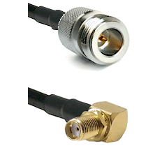 N Reverse Polarity Female on RG58C/U to SMA Right Angle Female Bulkhead Cable Assembly