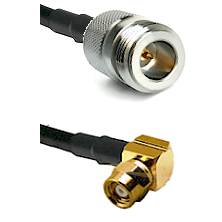 N Reverse Polarity Female on RG58C/U to SMC Right Angle Female Cable Assembly