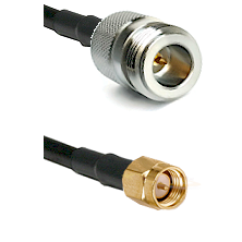 N Reverse Polarity Female on RG58C/U to SMA Reverse Thread Male Cable Assembly