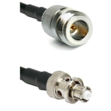 N Reverse Polarity Female on RG58C/U to SHV Plug Cable Assembly