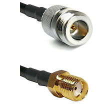 N Reverse Polarity Female on RG58C/U to SMA Female Cable Assembly
