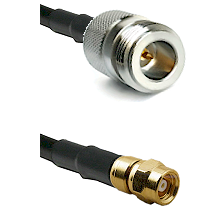 N Reverse Polarity Female on RG58C/U to SMC Male Cable Assembly