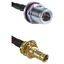 N Reverse Polarity Female Bulkhead Cable Assembly to LMR100 to 10/23 Female Bulkhead Cable Assembly