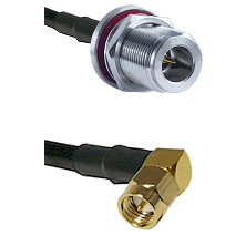 N Reverse Polarity Female Bulkhead on LMR-195-UF UltraFlex to SMA Right Angle Male Coaxial Cable Ass
