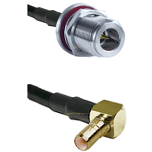 N Reverse Polarity Female Bulkhead on LMR200 to SSMB Right Angle Male Cable Assembly